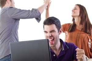Group of young people react to great news
